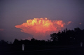 cumulo-nimbus cumulo nimbus cumulonimbus anvil 30 miles distant lit evening sun. minnesota usa sky natural history nature misc. weather meteorology cloud cunim thunderhead storm supercell pink united states america american