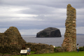 bass rock firth forth scotland. taken tantallon castle. scottish castles british architecture architectural buildings uk bird colony sanctuary north berwick seacliff edinburgh sandstone oliver cromwell mary queen scots central scotland scotch escocia schottland great britain united kingdom