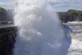 waves battering sea walls dunbar harbour. harbour harbor uk coastline coastal environmental east lothian firth forth north ocean tide spume spray briny salty swell central scotland scottish scotch scots escocia schottland great britain united kingdom british