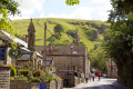 castleton derbyshire. street looking cave dale. rural britain countryside rustic pastoral environmental uk peak district national park limestone blue john speedwell cavern devil arse peveril castle derbyshire england english great united kingdom british