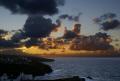 dramatic sunset port isaac cornwall. taken gaverne. uk coastline coastal environmental evening twilight sky clouds weather ocean atlantic cornwall cornish england english great britain united kingdom british