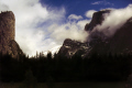 yosemite valley rain el capitan half dome. california american yankee travel weather meteorology np national park merced john muir trail cloud cumulus mist californian usa united states america