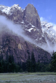 yosemite valley snow shower california american yankee travel weather meteorology merced river meadows mist cloud fog appear shrouded hanging national park np californian usa united states america