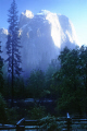 yosemite np. cathedral rocks mist california american yankee travel granite monothlith massif exfoliation merced river massive misty ghostly ethereal cliff valley national park californian usa united states america