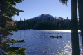 mount lassen manzanita lake national park california. california american yankee travel volcano canoe fishing tranquil crystal sunlight sunset mountain californian usa united states america