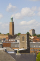 view norwich st georges church tower tombland. showing 1930 city hall st. andrews medieval east anglia midlands england english uk architecture building cityscape norfolk great britain united kingdom british
