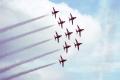 red arrows raf finningley yorkshire. royal air force aeronautics uk military militaries jet aircraft doncaster display hawk trainer yorkshire england english great britain united kingdom british