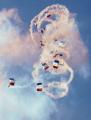 raf parachute display team finningley yorkshire. royal air force aeronautics uk military militaries free-fall free fall freefall sky-diving sky diving skydiving troopers doncaster smoke trails yorkshire england english great britain united kingdom british