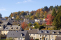 view rooftops limousin village corrèze. french buildings european travel rural pastoral correze monedieres granite france la francia frankreich europe