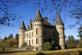 chateau le bech near corrèze limousin french châteaus european travel rural pastoral rolling hills correze monedieres winter granite towers turrets france la francia frankreich europe