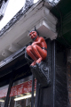 red devil wooden carving shopfront centre york unusual british buildings strange wierd uk little horny statue yorkshire england english great britain united kingdom