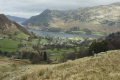 glenridding town ullswater lake viewed high fell. district. british lakes countryside rural environmental uk village lakeside lakeland fell walking cumbria cumbrian england english great britain united kingdom