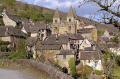conques france dominated abbey church sainte foy. french european travel way st james jacques route ste aveyron midi-pyrenees midi pyrenees midipyrenees basilica eglise medieval santiago compostela la francia frankreich europe