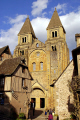 old pilgrimage town conques abbey church sainte foy. french buildings european travel way st james jacques route ste aveyron midi-pyrenees midi pyrenees midipyrenees basilica eglise medieval santiago compostela france la francia frankreich europe