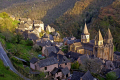 old pilgrimage town conques france dominated abbey church sainte foy. french buildings european travel way st james jacques route ste aveyron midi-pyrenees midi pyrenees midipyrenees basilica eglise medieval santiago compostela la francia frankreich europe