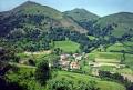 typical scenery pays-basque pays basque paysbasque area france foothills pyrenees. french european travel pyrénées-atlantiques pyrénées atlantiques pyrénéesatlantiques aquitaine mountain valley village la francia frankreich europe