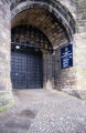 lancaster prison entrance door. castle uk prisons penal detention british architecture architectural buildings strong doorway portcullis stone lancashire lancs england english great britain united kingdom