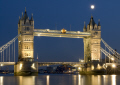 tower bridge dusk moon shimmering river thames. historical uk buildings history british architecture architectural capital chariot city duncan europe evening gb. england great britain grove holiday horizontal landmarks landscape london monument night nightime photography thames tourism tourist cockney english united kingdom
