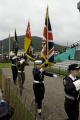 flags war memorial tynwald day 2008 uk memorials military militaries dead memory legion british isle man manx england english great britain united kingdom