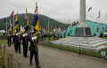 flags paraded war memorial tynwald day 2008 uk memorials military militaries dead memory legion british isle man manx england english great britain united kingdom