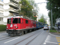 train arosa makes way streets chur trains railways rail railroads transport transportation uk railway switzerland schweiz europe european swiss