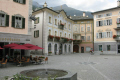 main square poschiavo italian speaking town switzerland surrounded patrizier houses neoclassic neogotic style. swiss suisse european travel schweiz europe