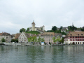 view rhine schaffhausen munot fortress standing pround town. swiss suisse european travel switzerland schweiz europe