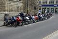row motorbikes parked bay near lloyds london british motorcycles transport transportation uk motorbike park urban commuting city cockney england english great britain united kingdom
