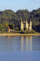 chateau val dordogne river near bort-les-orgues bort les orgues bortlesorgues limousin. french châteaus european travel limousin correze glacial trees wooded forest woodland reservoir dam barrage lake boating france la francia frankreich europe