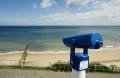 seaside telescope overlooking beach overstrand norfolk near cromer british beaches coastal coastline shoreline uk environmental sun looking far sighted england english great britain united kingdom