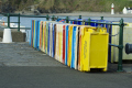 coloured fishing crates port erin isle man boats marine misc. manx bay sea seaside town england english great britain united kingdom british