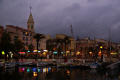 sanary harbour town center evening. provence cote azur riviera mediterranean south french european travel var france bateau provencale church eglise saint nazaire st evening twilight sunset provence-alpes-côte provence alpes côte provencealpescôte la francia frankreich europe