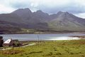 isle skye loch slapin bla bheinne cuillin hills distance. scottish lochs british lakes countryside rural environmental uk mountains scotland eilean sgitheanach highlands islands scotch scots escocia schottland great britain united kingdom