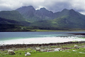 isle skye loch slapin coral beach bla bheinne cuillin hills distance. scottish lochs british lakes countryside rural environmental uk mountains scotland turquoise transparent crystal clear eilean sgitheanach highlands islands scotch scots escocia schottland great britain united kingdom