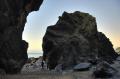 lynague caves west coast isle man standing large rock british beaches coastal coastline shoreline uk environmental cave sea rocks beach manx england english great britain united kingdom