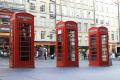 old style phone boxes royal mile edinburgh. scoytland. british telecom telecommunications telephone uk media communications edinburgh midlothian central scotland scottish scotch scots escocia schottland great britain united kingdom