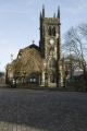macclesfield parish church centre town winter seasons seasonal environmental uk stone religion churchyard tree peak district derbyshire england english great britain united kingdom british
