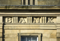 word bank set stone building banking finance brands branding uk business commerce lettering large grand peak district derbyshire england english great britain united kingdom british
