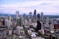 seattle skyline space needle. american yankee travel washington state monorail downtown commercial business district skyscrapers office blocks usa united states america