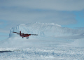 british antarctic survey twin otter aircraft passing brunt iceshelf polar natural history nature misc. aviation antarctica united kingdom