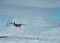 british antarctic survey twin otter aircraft passing brunt iceshelf polar natural history nature misc. aviation antarctica united kingdom