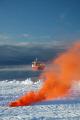 rrs ernest shackleton departing creek n9 brunt iceshelf weddell sea polar natural history nature misc. marine shipping antarctic antarctica united kingdom british