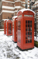 phone boxes law courts strand famous sights london capital england english uk red box snow city cockney great britain united kingdom british