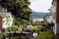 village gardens portmeirion wales looking beach traeth bach estuary. portmerion british architecture architectural buildings uk italianate clough williams-ellis williams ellis williamsellis ornamental prisoner number gwynedd welsh país gales great britain united kingdom