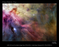 nasa poster showing hubble image orion nebula space science misc. trapezium hst hunter astronomy cosmology nebulosity stellar nursery m42 usa united states america american