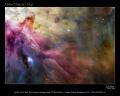 nasa poster showing hubble image orion nebula space science misc. trapezium hst hunter astronomy cosmology nebulosity stellar nursery m42 usa united states america american