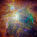composite image orion nebula hubble spitzer space telescopes. science misc. trapezium nasa sst hst hunter astronomy cosmology nebulosity stellar nursery m42 usa united states america american