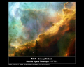 nasa poster showing hubble image swan nebula space science misc. m17 hst omega astronomy cosmology nebulosity stellar nursery usa united states america american
