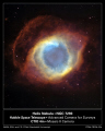 nasa poster showing hubble image helix nebula visible light. space science misc. hst cosmology astronomy planetary nova ngc 7293 aquarius usa united states america american