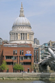 st paul cathedral millennium foot bridge river thames. buildings architecture london capital england english uk skyline anglican religious religion christianity baroque christopher wren norman foster thames cockney great britain united kingdom british